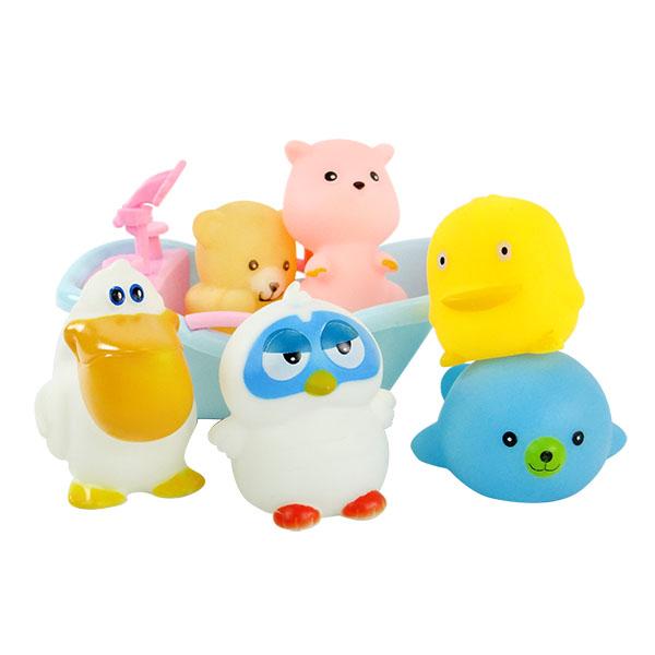 6入動物洗澡玩具啾啾(貓頭鷹浴缸版)(ST安全漆)