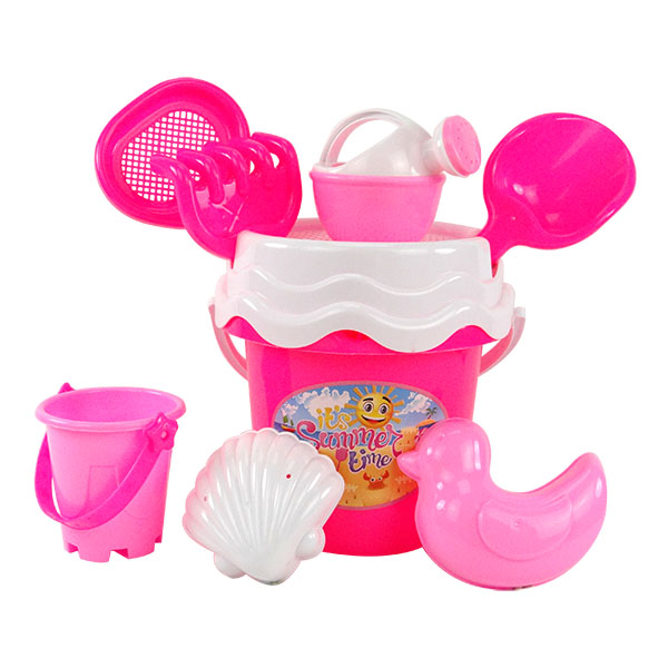 8件式粉紅水桶玩沙工具組(沙灘組)