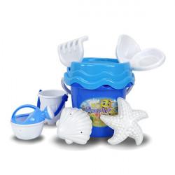 8件式藍色水桶玩沙工具組(沙灘組)