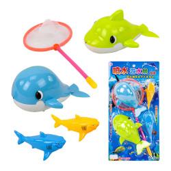 2入發條式噴水鯨魚洗澡玩具(附撈網)(ST027)