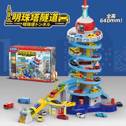 903C 明珠塔旋轉升降停車場模型組(高64公分手動昇降)(附6入小汽車)