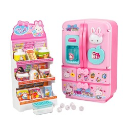 粉紅兔仿真3層雙開門大冰箱組家家酒(授權17036)