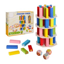 木製圖形顏色辨識疊疊樂(擲骰子)(手眼訓練)(水性安全漆)